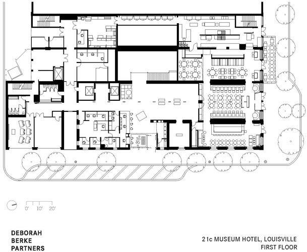 21c Museum Hotels | Plans | Hotel floor plan, House design