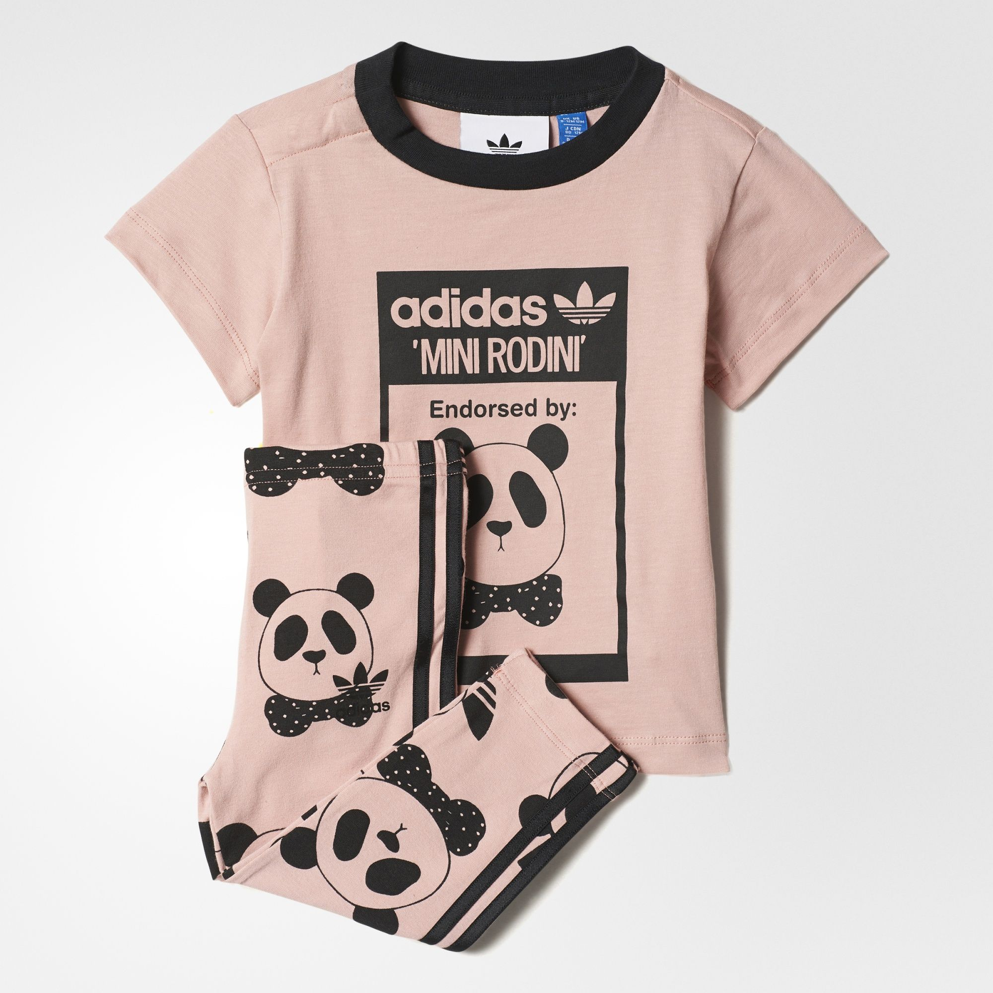 e5a6711710e8f This toddler girls  set mixes adidas Originals style with a fun print by  Swedish brand Mini Rodini. The leggings have 3-Stripes and a playful  allover print.