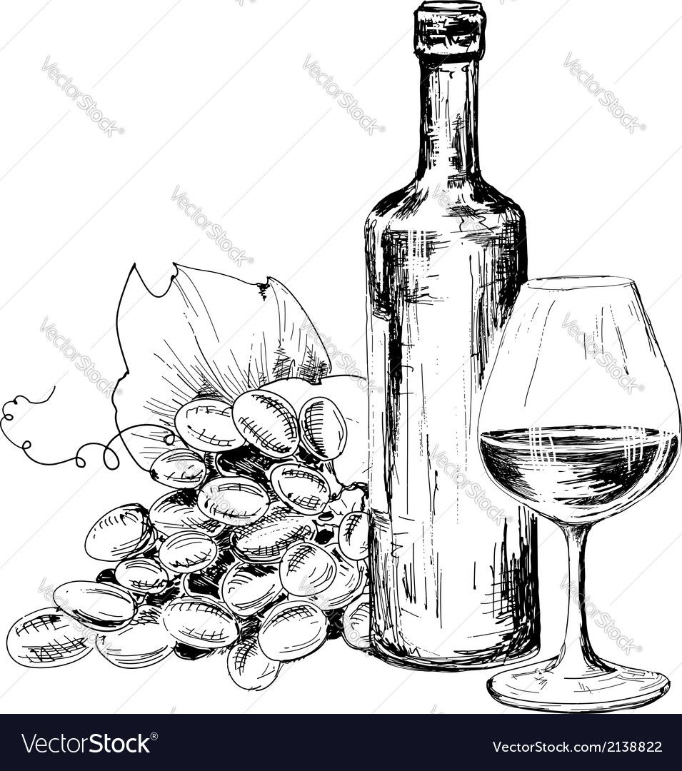 Bottle Of Wine Glass And Grapes Vector Image On Wine Bottle