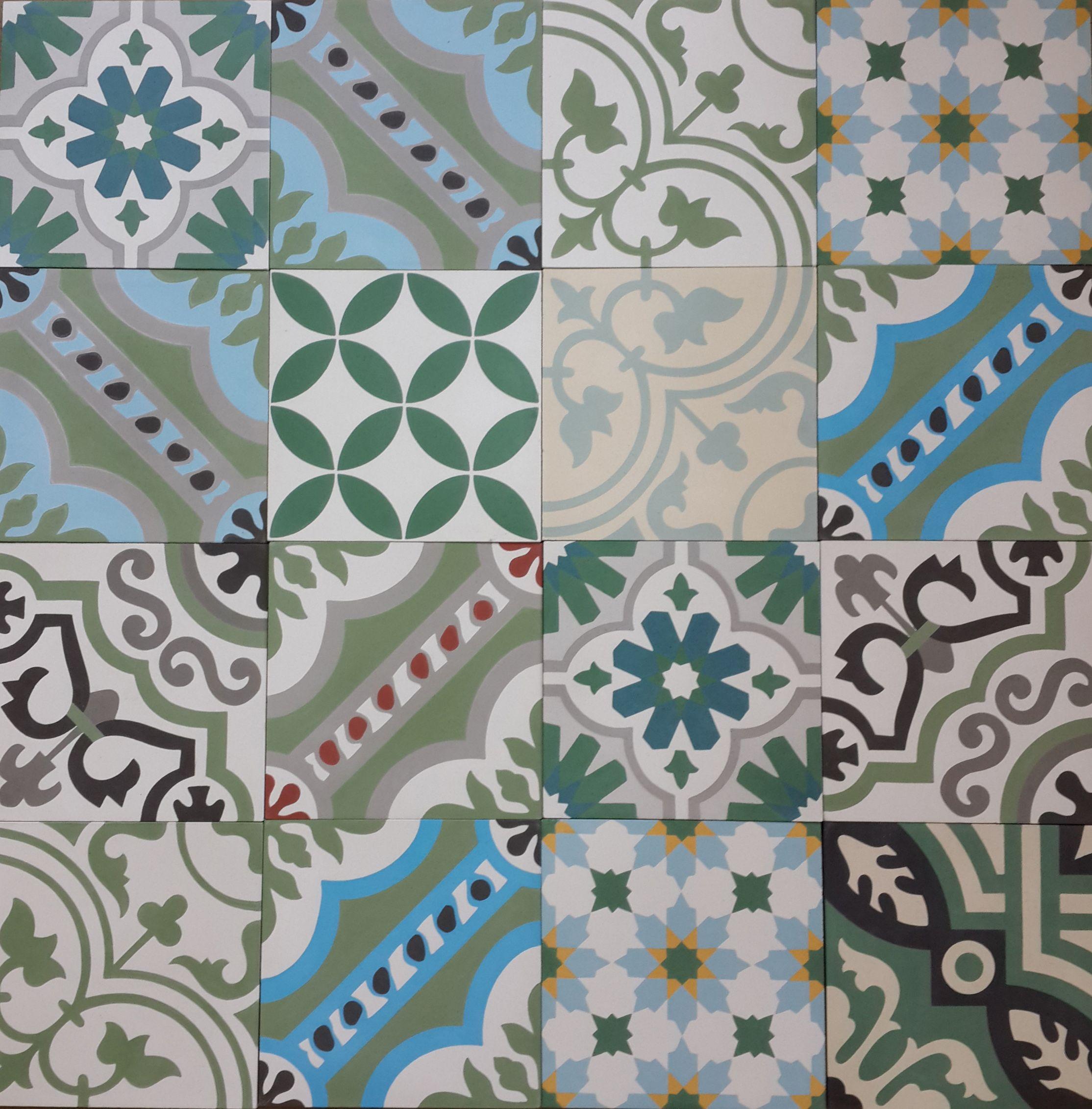 green patchwork encaustic cement tiles tiles