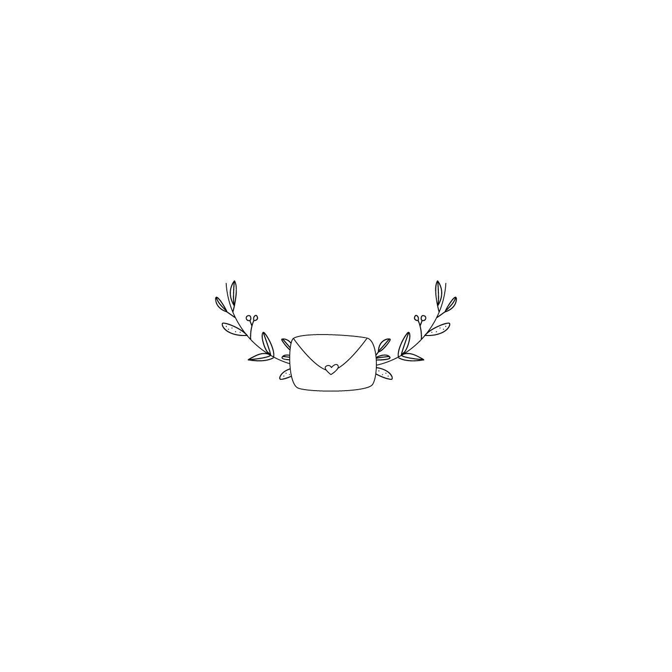 Envelope Post Branch Twig Leaves Love Letter Design Logos Premade