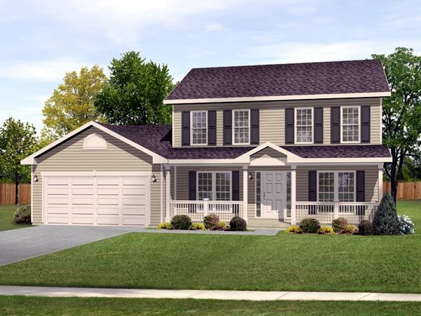 Traditional Style House Plan 49034 With 3 Bed 2 Bath 2 Car Garage Colonial House Exteriors Colonial House Plans House With Porch