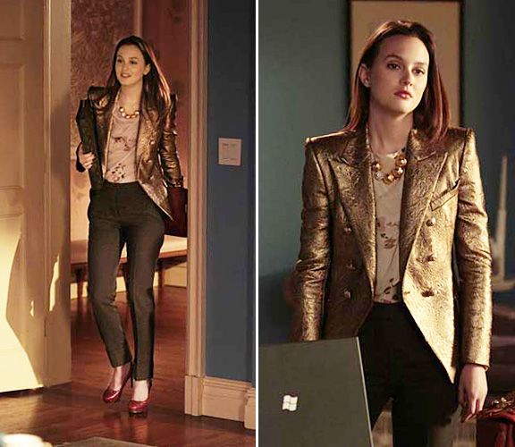 Balmain Jacket + Diane Von Fursternberg Blouse + Stella McCartney Pants Blair  Waldorf Style, Blair