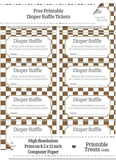 free coyote brown checker pattern diaper raffle tickets baby