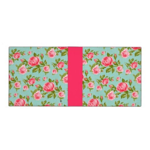 Girly Vintage Roses Floral Print 3 Ring Binder
