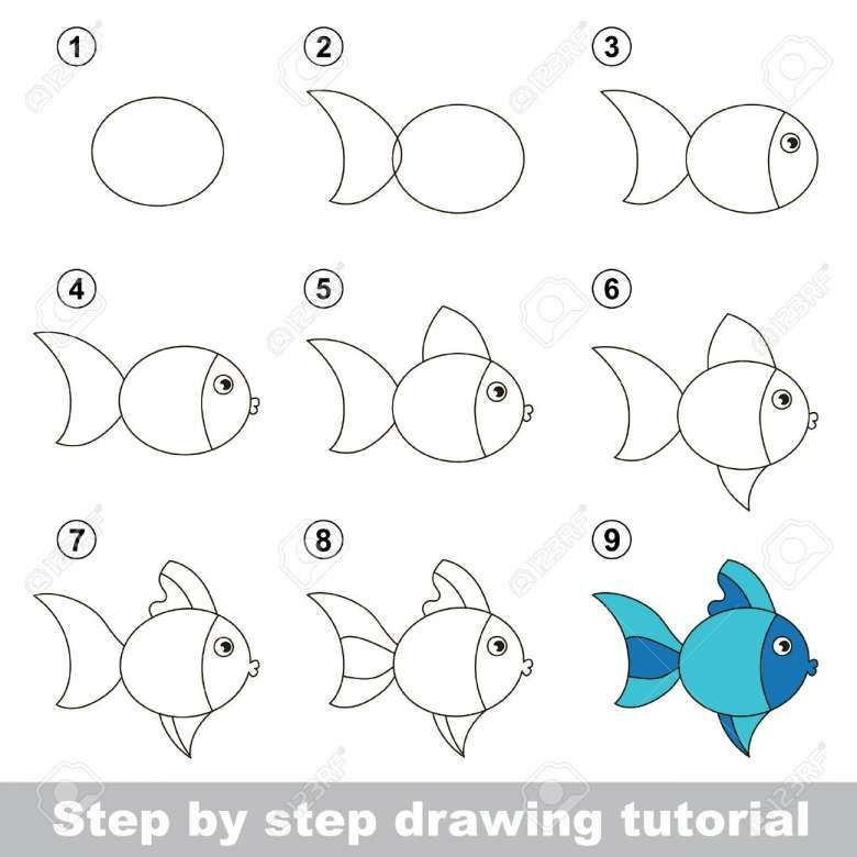 Kids Step By Step Drawing And Stepstep Drawing Tutorial Visual Game For Kids How To Draw Fish Drawing For Kids Drawing For Kids Drawing Tutorials For Kids