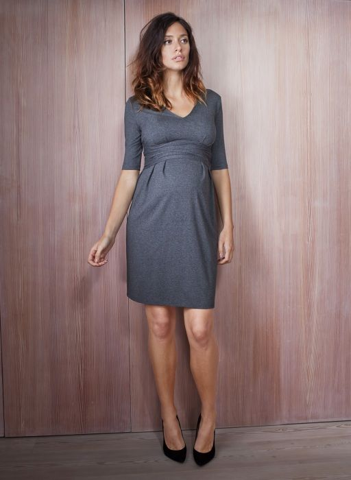 4b50dbffb2ab2 Serafina Maternity Dress in Grey | Isabella Oliver | Maternity Workwear