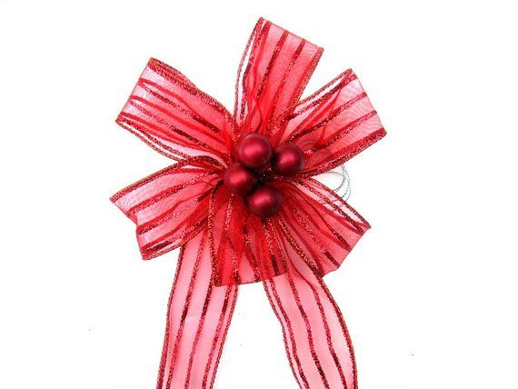 red christmas bow for trees and wreaths holiday accessory christmas decor gift wrap bow gift for - Red Christmas Bows