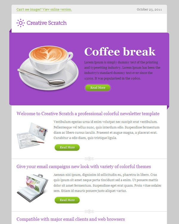 Creative Scratch Email Template  Newsletter Design Ideas