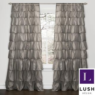 Gray Ruffled Curtain Panel Pink Ruffle Curtains Ruffle Curtains