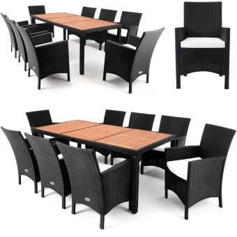 Salon de jardin 17 pcs - Ensemble table 8 chaises Alu ...