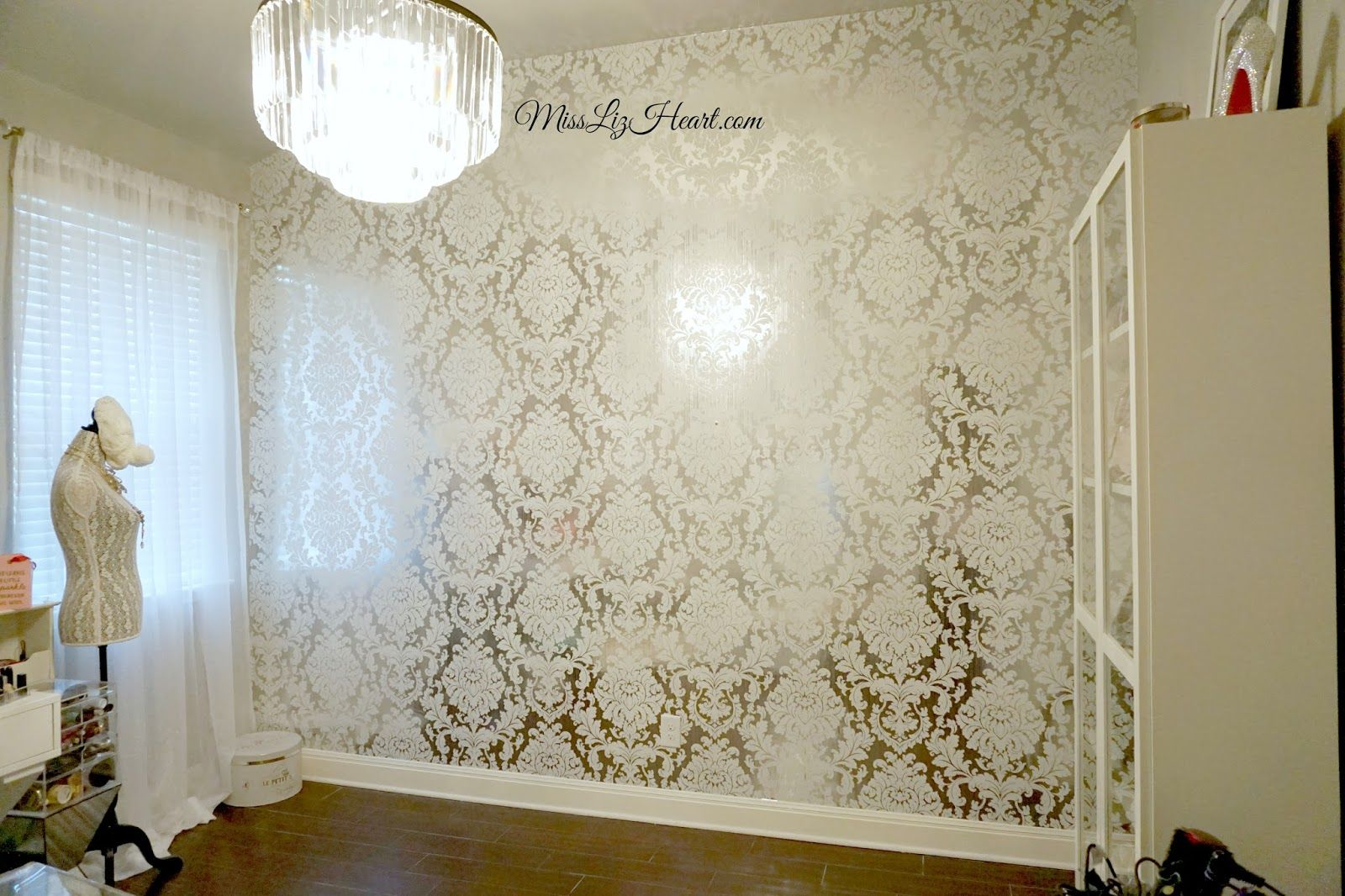 New Wallpaper! Makeup Room Update | White and silver wallpaper ...