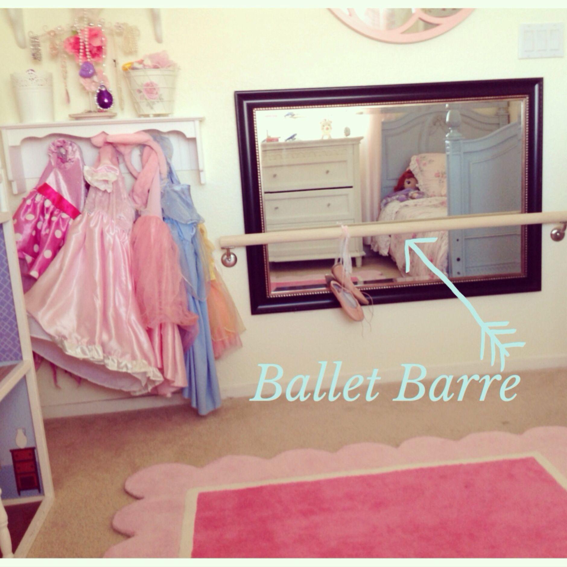 Ava's diy ballet barre using a wood dowel & stair banister brackets