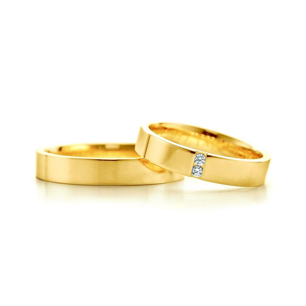 SAVICKI - Obrączki ślubne: Obrączki ślubne złote (633/4/W/W/2x1,7arc/cal/333) - Biżuteria od 1976 r.