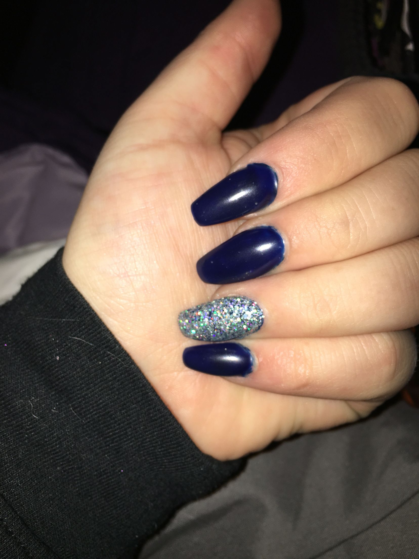 Navy Blue And Silver Coffin Shaped Nails For Prom Nails