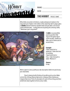 the hobbit riddle game chapter 5 activity worksheet riddle games hobbit and worksheets. Black Bedroom Furniture Sets. Home Design Ideas
