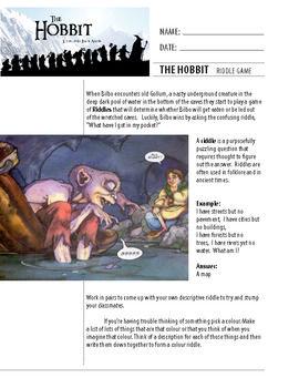 The hobbit novel study unit