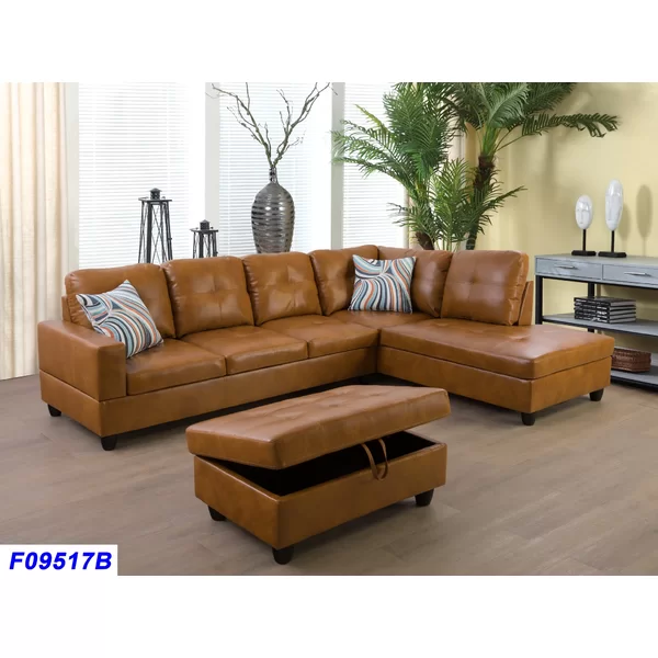 Imlay 104 Sectional With Ottoman In 2020 Faux Leather Sectional Leather Sectional Sofa Faux Leather Sofa