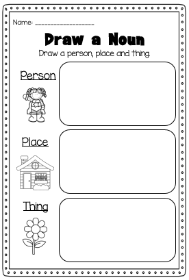 Nouns Printable Worksheet Pack - Kindergarten First Second Grade ...