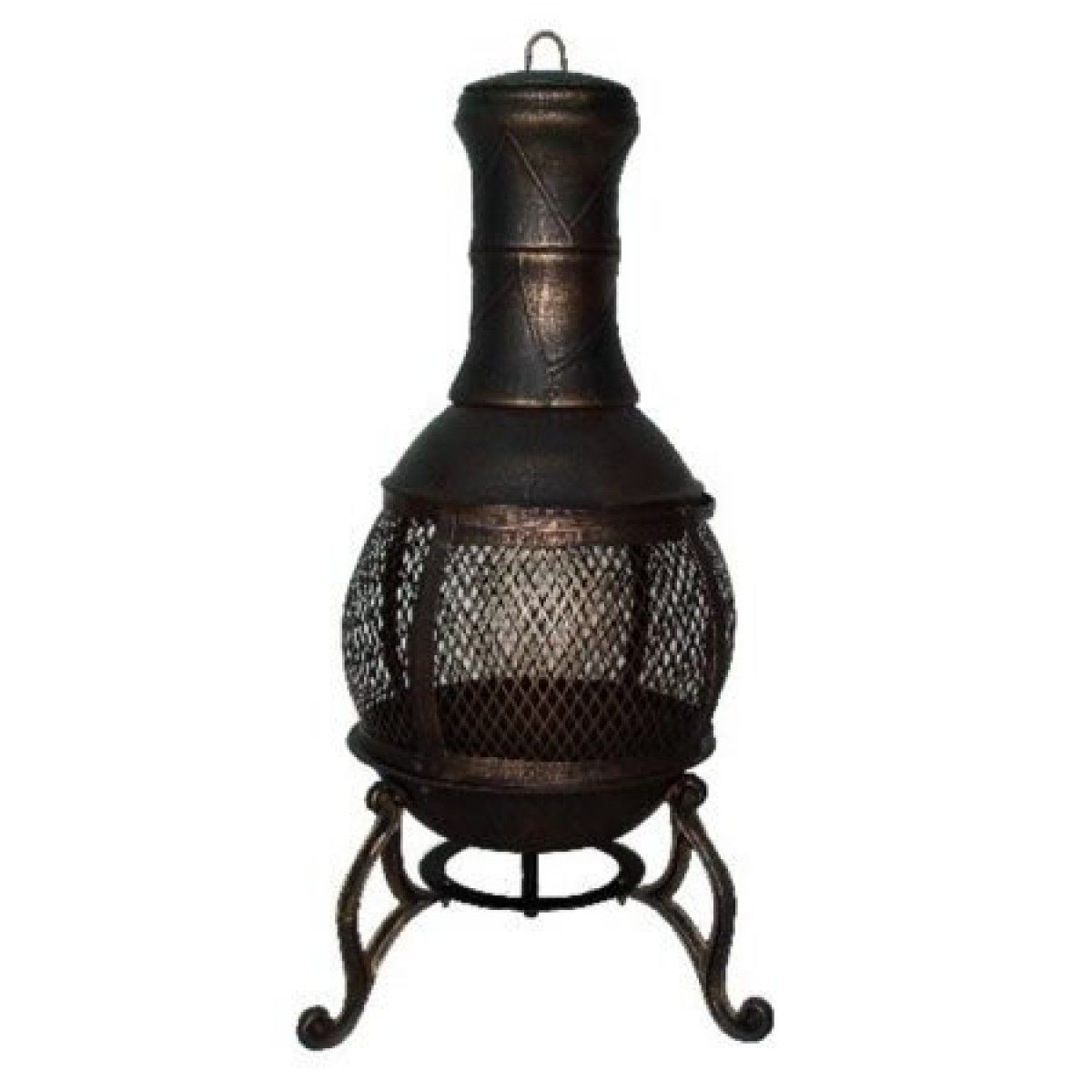 Mesh Cast Iron Bronze Chimenea