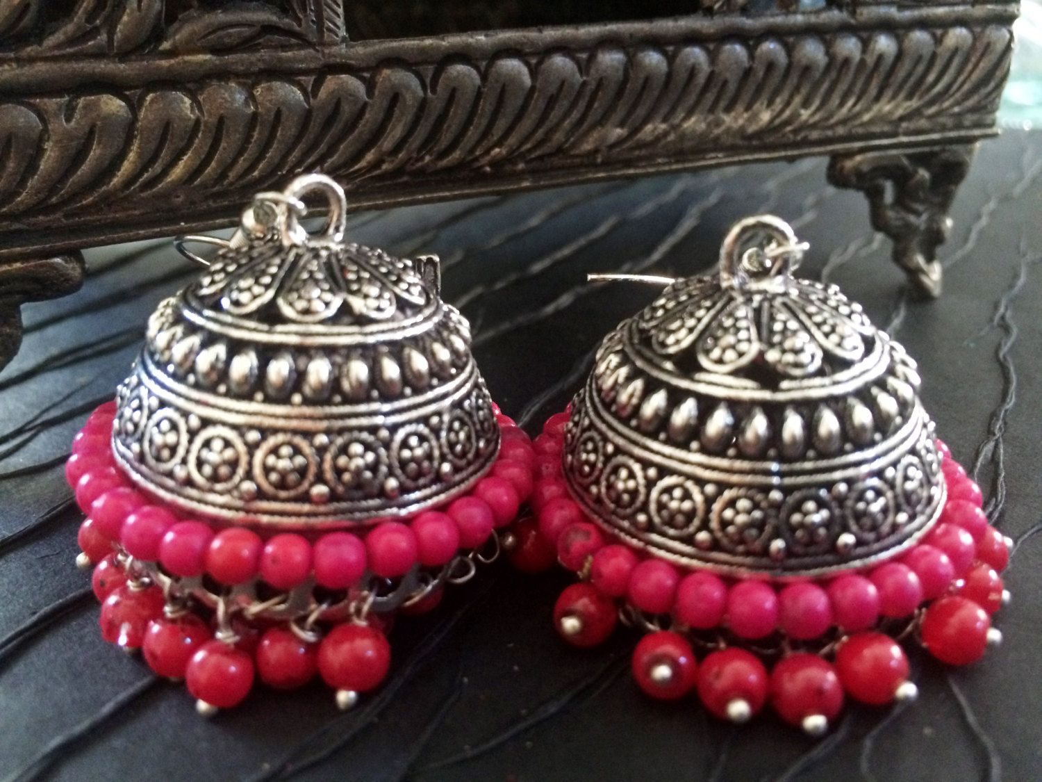 Red TRIBAL SILVER Jhumka Earrings,Ruby Pink and Silver Jhumkas ...
