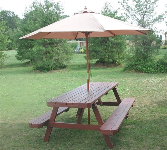 The Table Guy Showroom Picnic Table With Umbrella Wooden