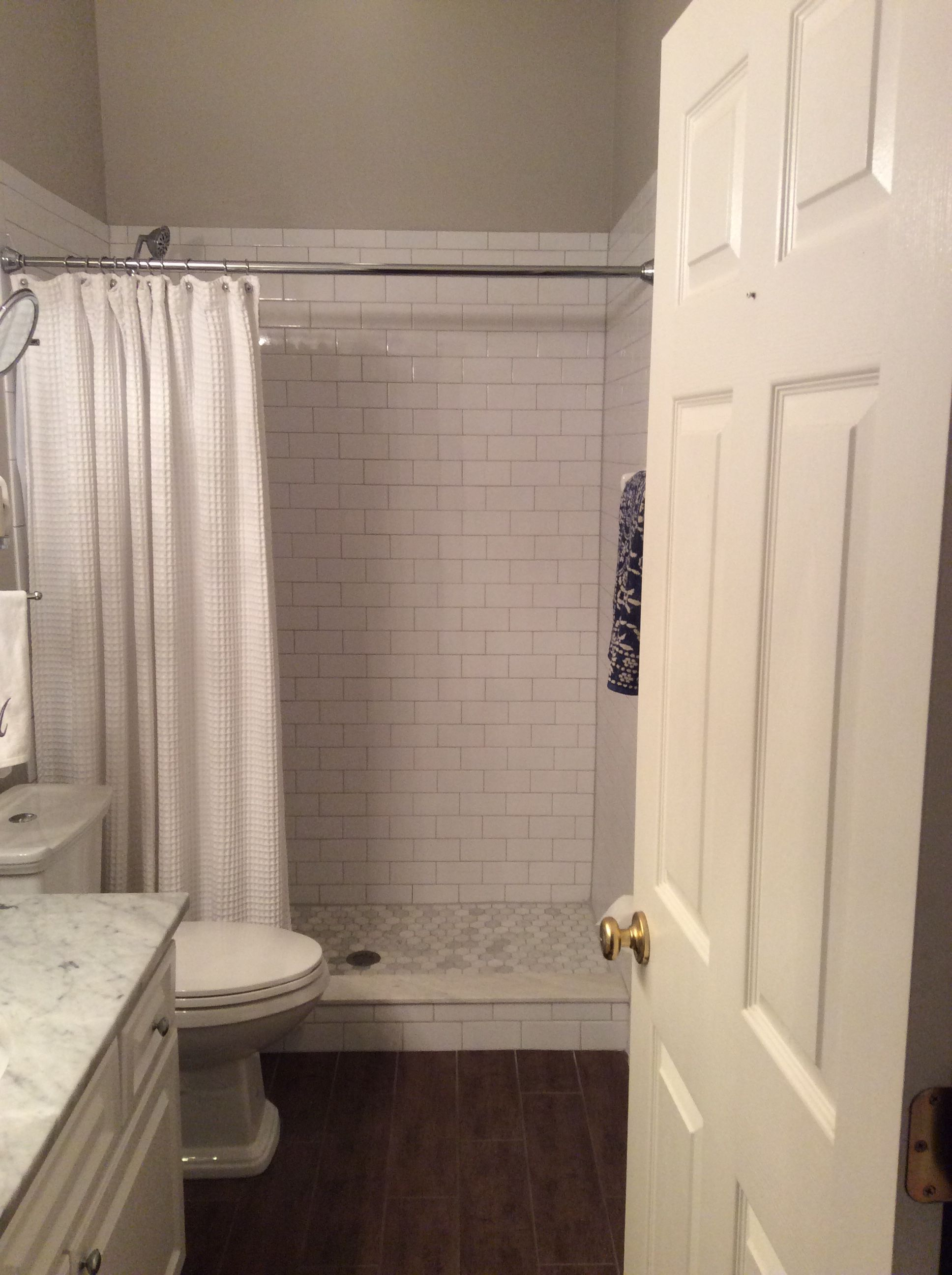 white subway tile mapei grout in warm gray marble. Black Bedroom Furniture Sets. Home Design Ideas