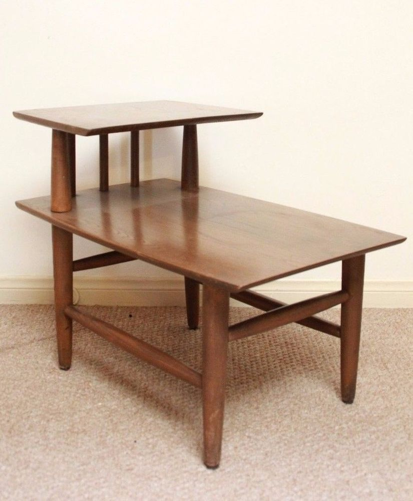 Mid Century Modern HEYWOOD WAKEFIELD Side End Table Danish Side Step  Furniture #MidCenturyModern #HeywoodWakefieldFurniture