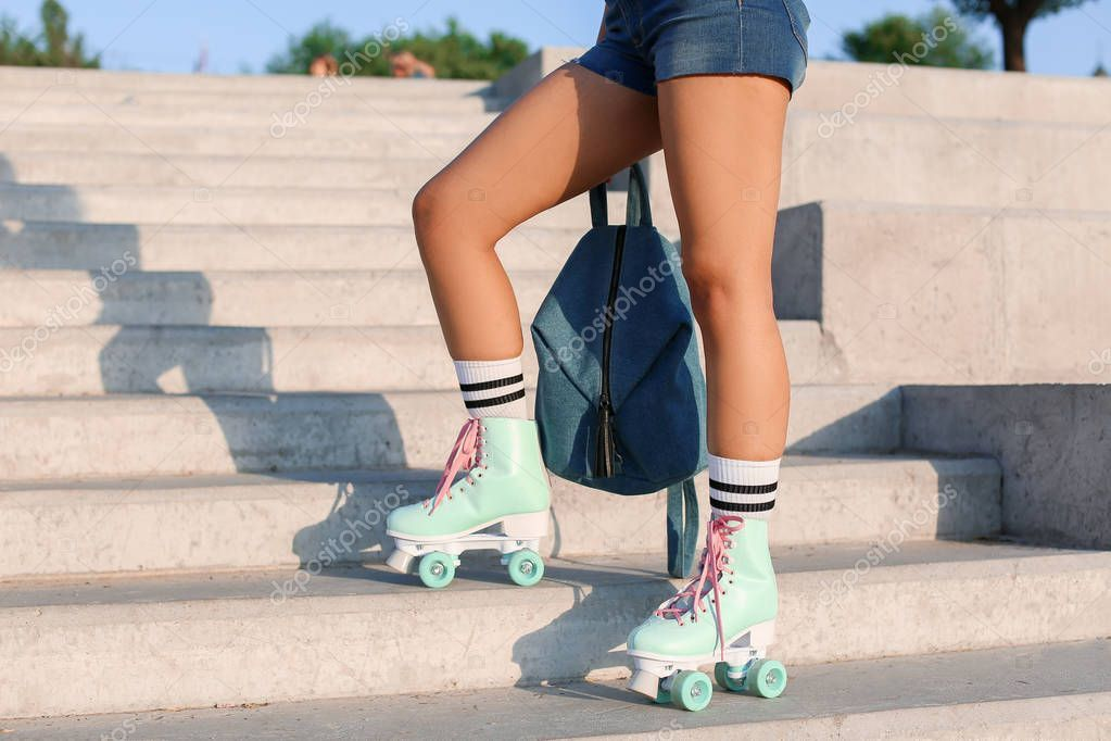 Beautiful Young Woman On Roller Skates Outdoors Stock Photo Sponsored Woman Roller Beautiful Young Ad Women Beautiful Roller