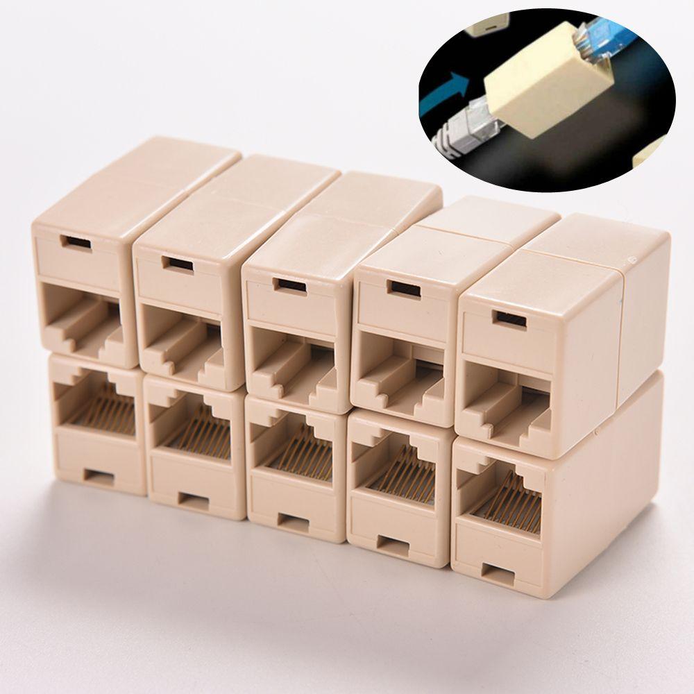 10 Pcs Rj45 Lan Adaptador De Rede Ethernet Extender Cable Joiner Acoplador Cat 5 Locker Storage Plugs Ethernet Cable