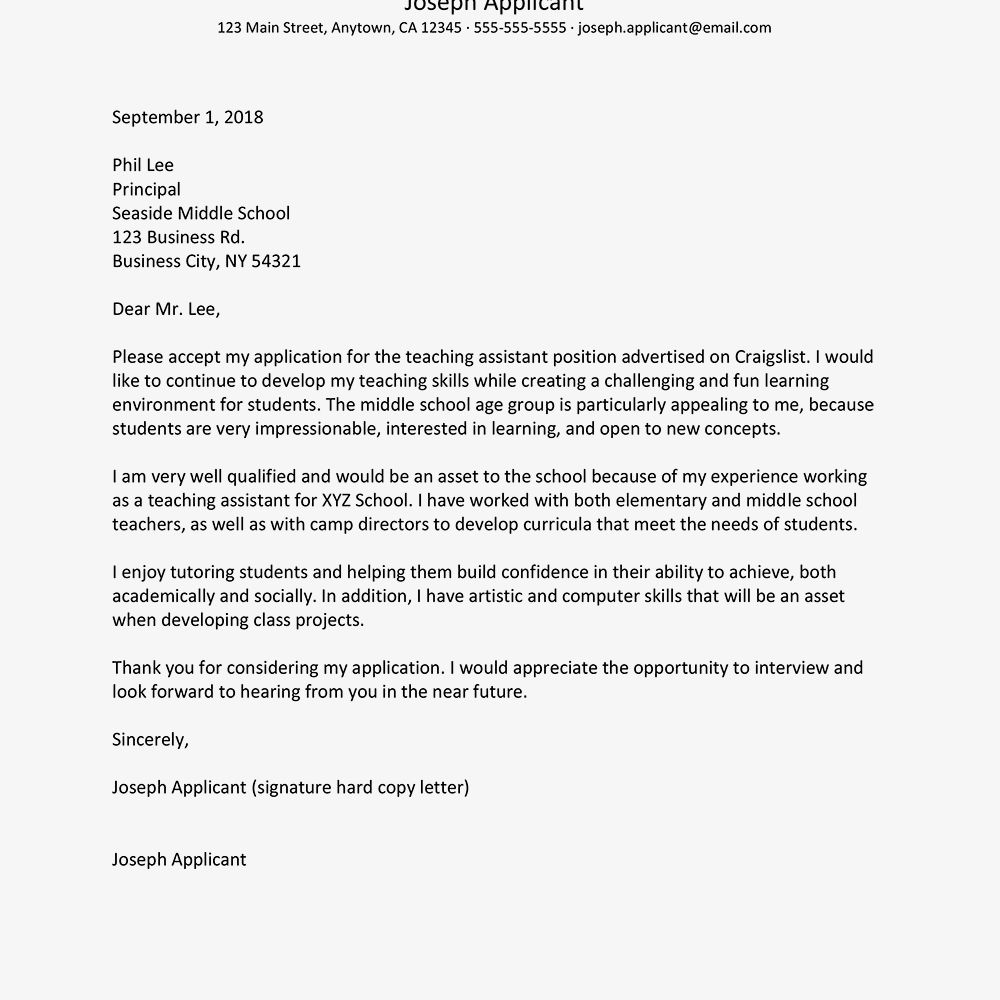 23 Education Cover Letter Teaching Assistant Samples