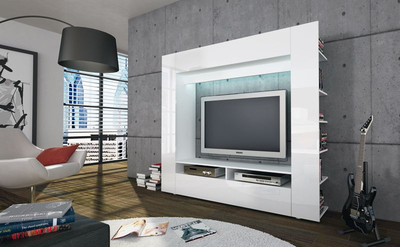roller tv wand olli wei hochglanz m bel wohnen. Black Bedroom Furniture Sets. Home Design Ideas