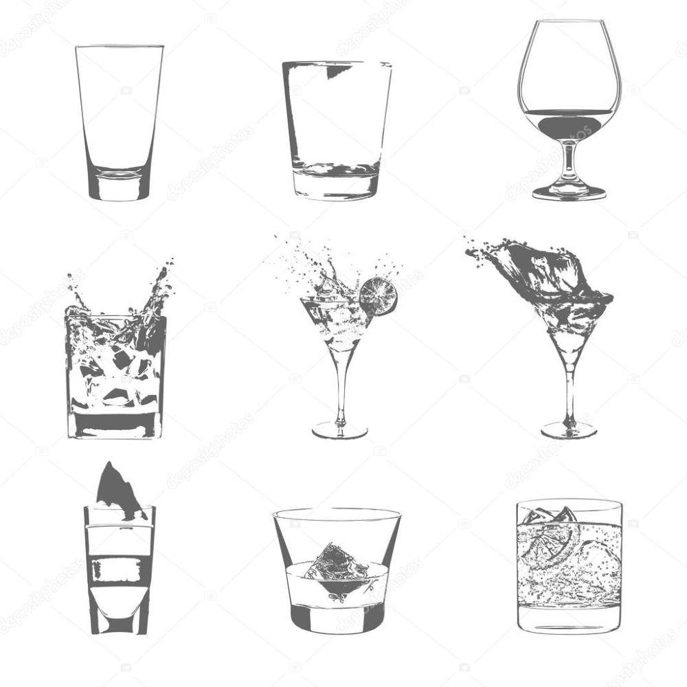 Cocktails Set Vector Glasses Collection Drinking Whiskey Party Menu Stock Illustration Cocktail Art Stock Illustration Cocktail Set