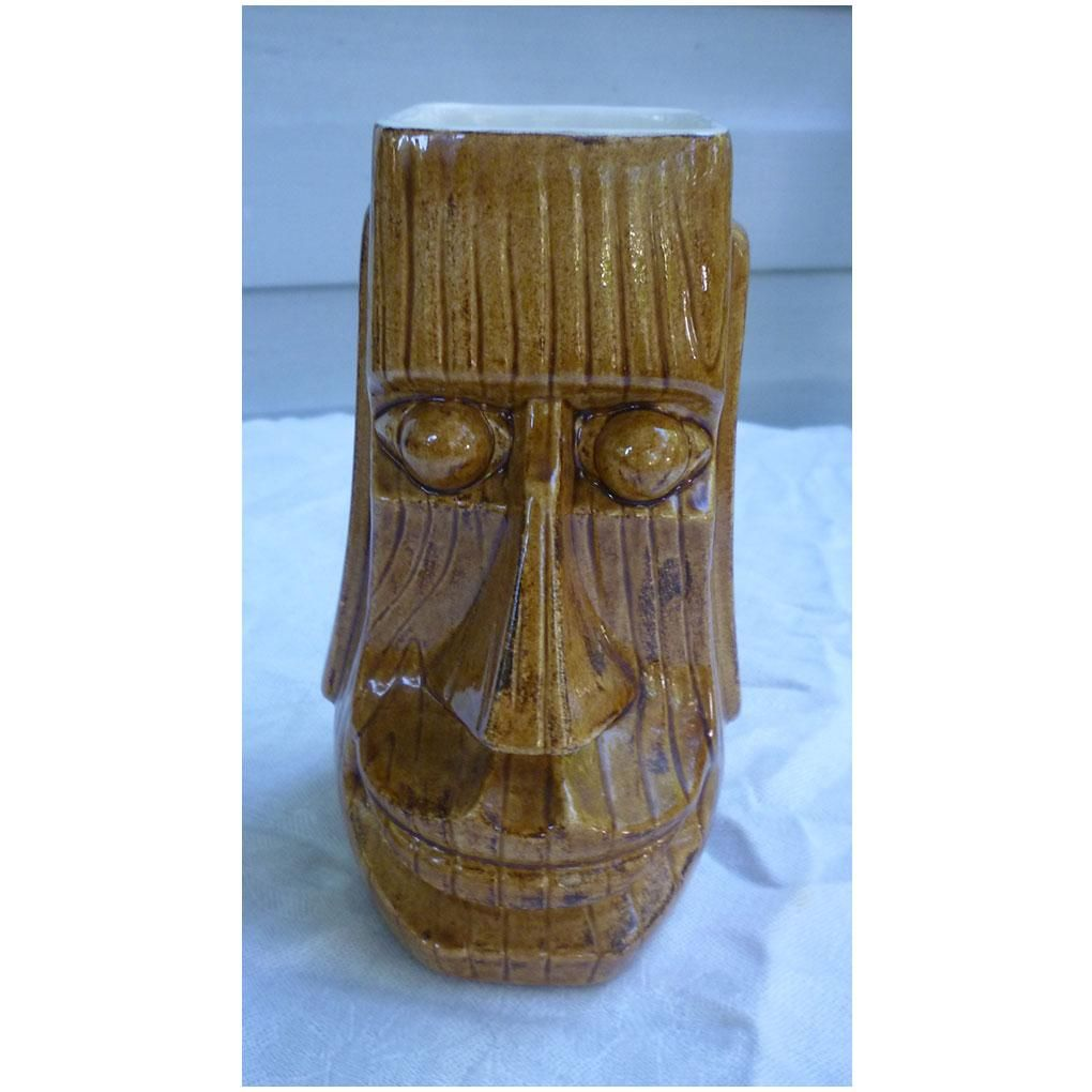 Signed Johnny Sens Smiling Moai Tiki Mug New Orleans  Johnny Sens is an artist/ceramicist from New Orleans, LA, who made many hobbyist molds in the