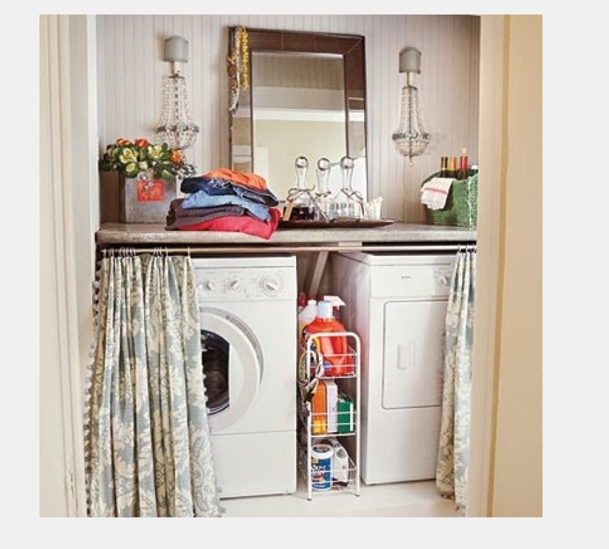 Curtain Rod And Fabric To Cover Washer And Dryer