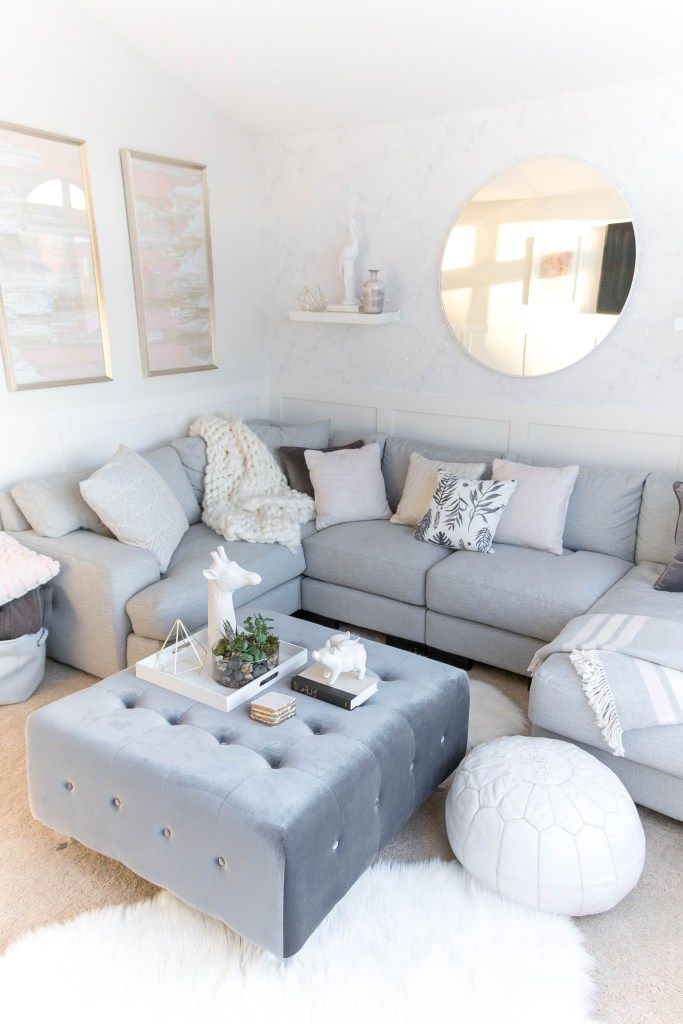 Light And Bright Kid Friendly Living Room With Gray White Pink Gold