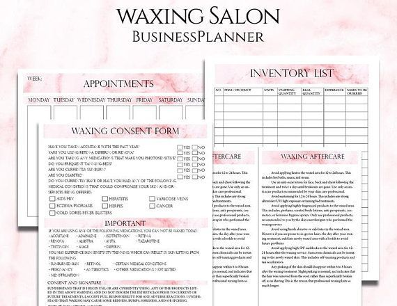 Waxing Salon Business Planner Bundle, Waxing Consultation and