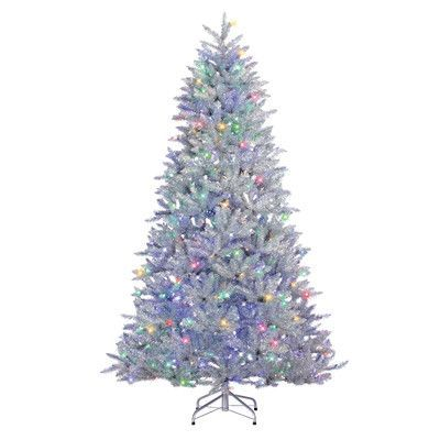 sterling inc 75 silver pine artificial christmas tree with 600 led warm whitemulticolor lights