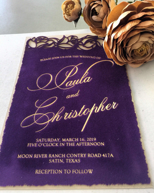 Gold Foil Purple Faux Suede Cut Wedding Invitation