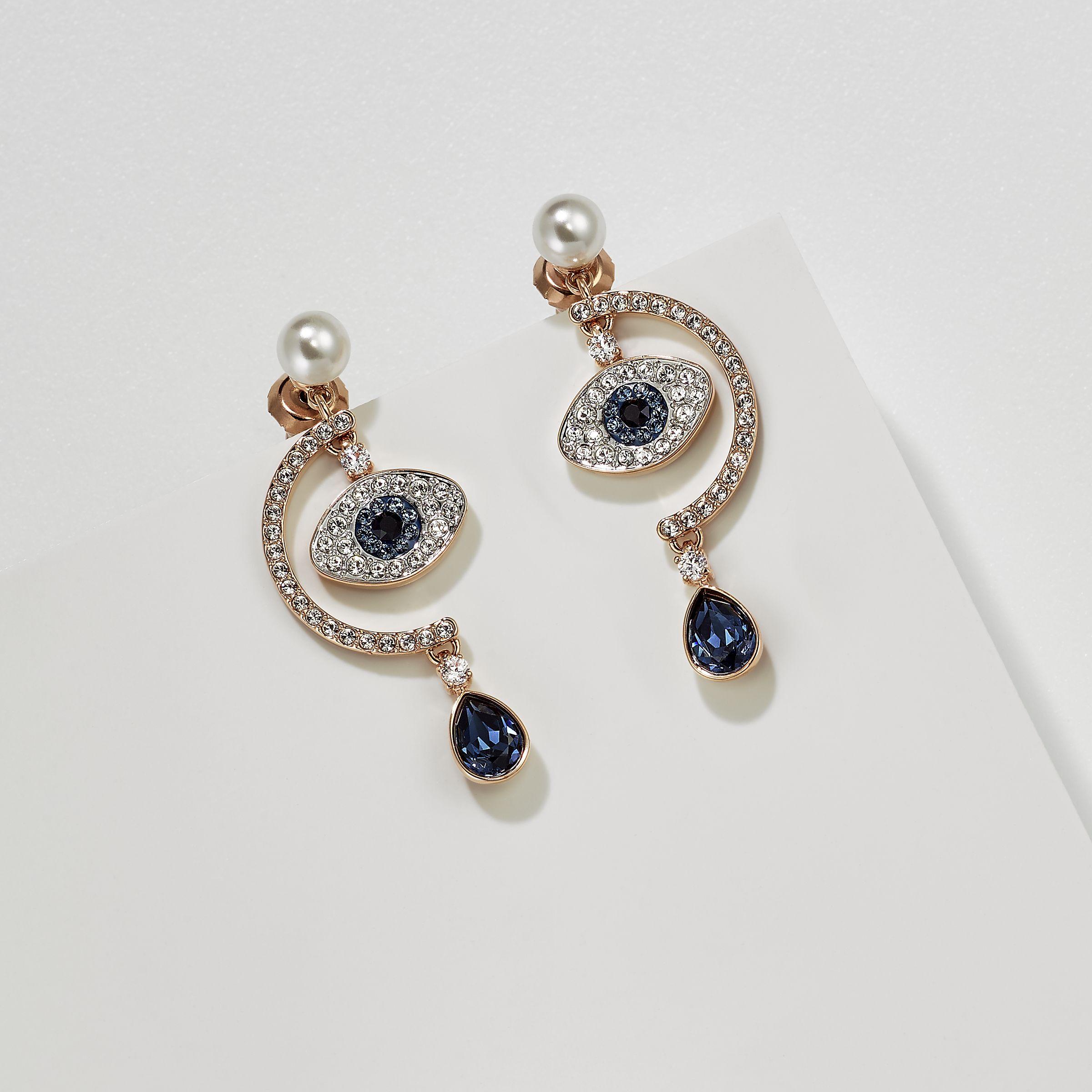 27e0a2571459f0 Duo Evil Eye Pierced Earrings, Multi-coloured, Rose gold plating - Swarovski,  5425860