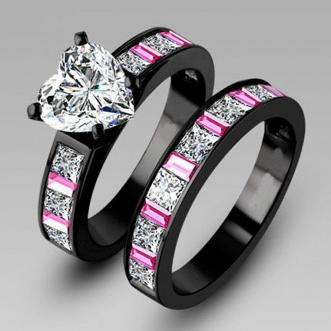 1.5CT Heart Shaped Diamond Wedding Ring Set With Pink Sapphire In Black Gold Plated Silver Was $320.00 Now $89.95 | Shop-> http://www.evolees.com/1-5ct-heart-shaped-diamond-wedding-ring-set-with-pink-sapphire-in-black-gold-plated-silver.html #Evolees #Blackgoldring