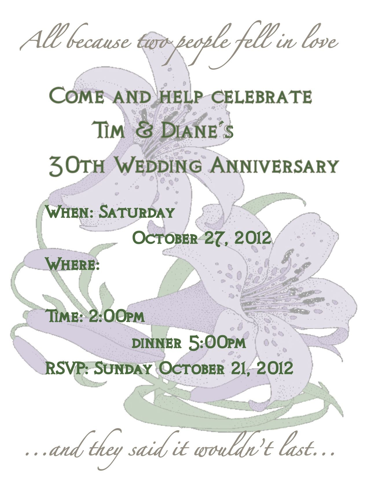 31st Wedding Anniversary Invitation For My Parents Party My