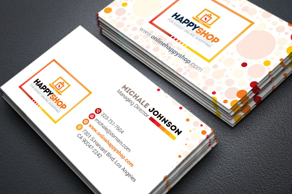 Business Card For E Commerce Or Online Shop Shopping Mall Business Card 66891 Business Cards Corporate Identity Business Card Logo Illustration Business Cards
