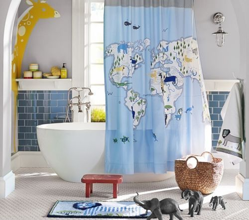 Pottery barn kids animals of the world shower curtain blue map new pottery barn kids animals of the world shower curtain blue map new bath ebay gumiabroncs Images