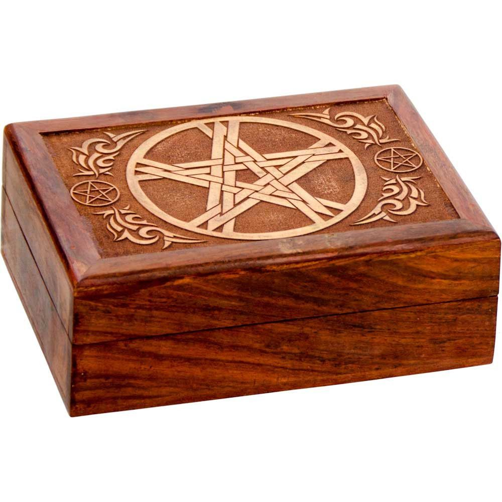Laser Etched Pentacle Wooden Box Velvet Lined 5x7 Products