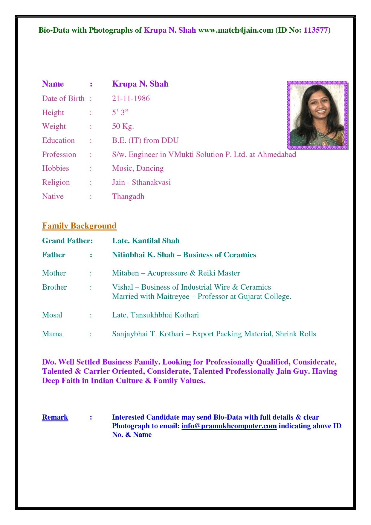 Within Marriage Biodata Template For Boy Bio data for