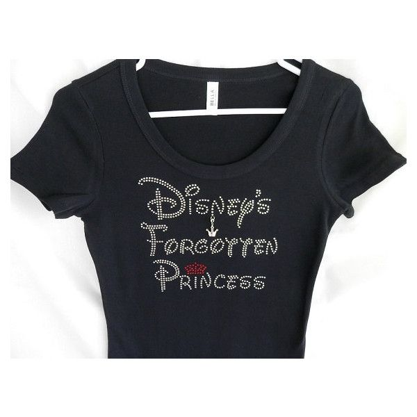 Rhinestone Disney's Forgotten Princess T-Shirt With a Removable Crown... ($29) ❤ liked on Polyvore featuring tops, t-shirts, brown, women's clothing, t shirts, tee-shirt, crewneck t shirt, checkered shirt and scoop neck t shirt