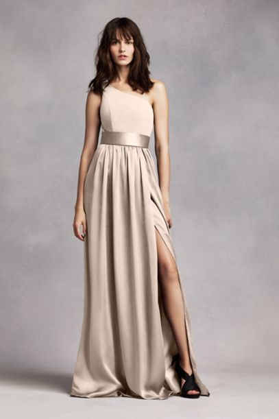 365260c3d36 White by Vera Wang - One Shoulder Dress with Satin Sash in Vw Champagne