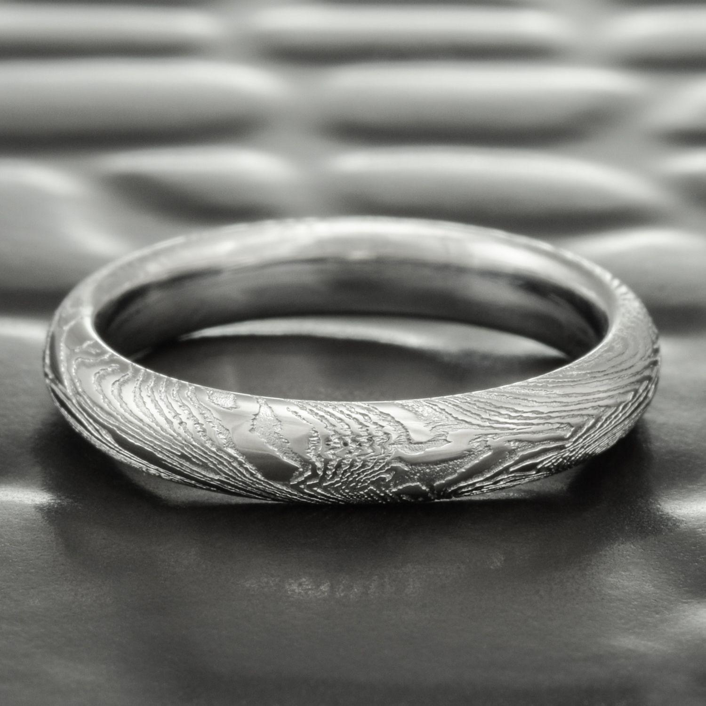 Fine Wood Women S Damascus Half Round Band Damascus Steel Wedding Band Steel Wedding Ring Wedding Rings
