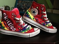666cb92808 Skittles Shoes | Converse All Star SKITTLES Designs hand painted shoes UK 5